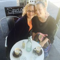 Wendy and Alissa together for Alissa's birthday breakfast at her favorite cafe.