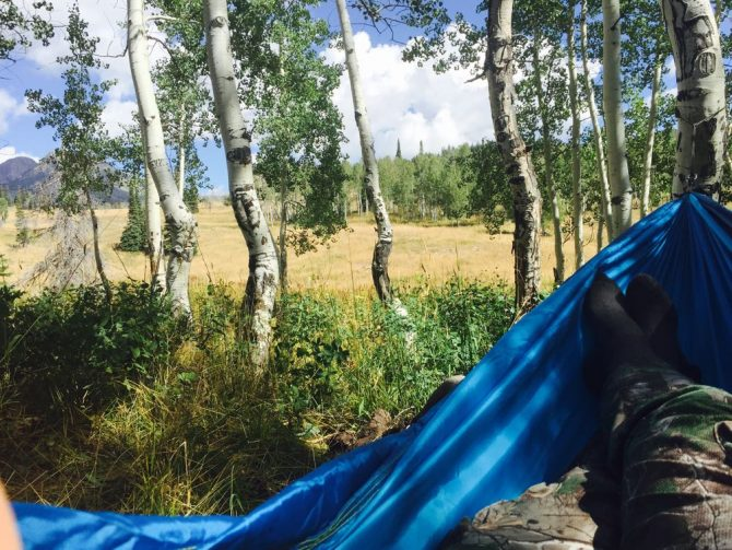 Spiking in allows for afternoon camps in the hammock. If only a herd of elk would have walked across the field at that time.