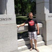 WWII memorial, pictured between my two home states.