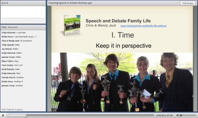 Click to watch the Speech & Debate Family Life Webinar.