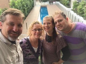 Our final selfie in Melbourne, together on the back deck.