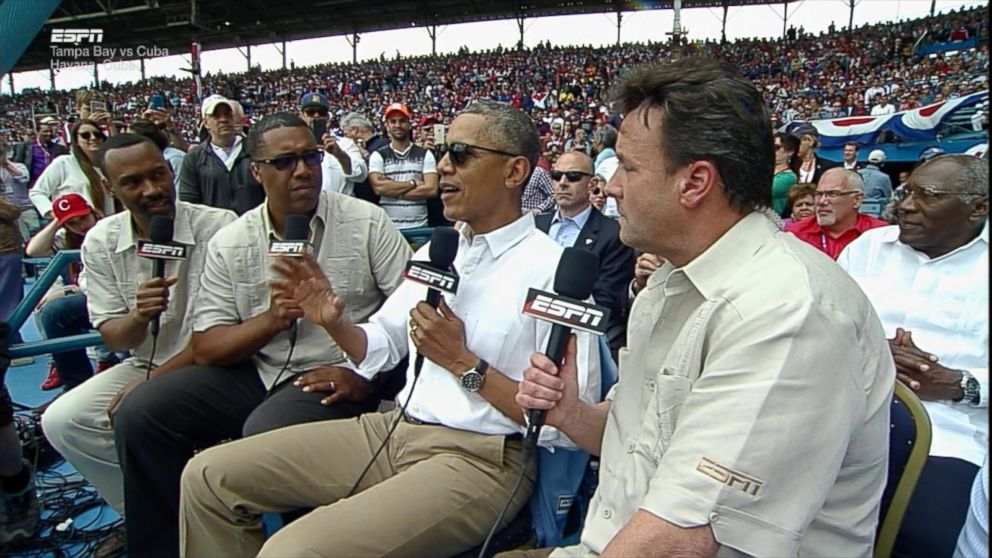 From ABC News: President Obama explains to nodding press why he's in Cuba watching baseball instead of responding to an attack on a member NATO nation.